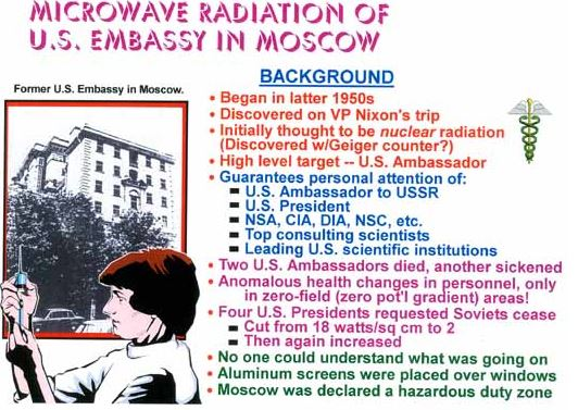 Russian exposing USA embassy to strong microwave fields Pubmed Studies of EMF and Microwave Exposure